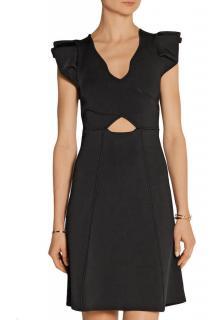 Issa Eden Black Ruffle Shoulder Tech Jersey Dress