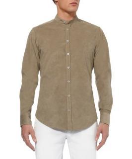 Etro faux suede long sleeve shirt w/ mandarin collar