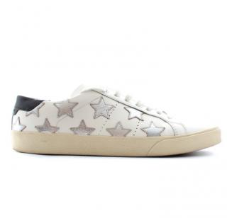 Saint Laurent Court Classic Metallic Star-Appliqu� Leather Sneakers