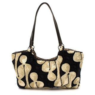 Jamin Peuch Black and White Sequin Embroidered Bag
