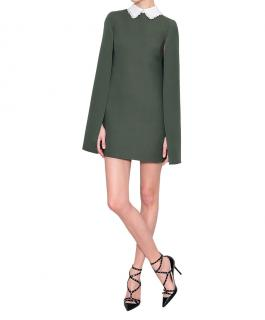 Valentino Green Wool Silk Cape Dress detachable lace collar sz42