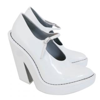 Alexander Wang Manuel White Half Wedge Mary Jane Pumps