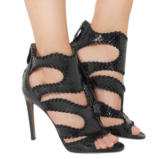 Alaia Black Python Whipstitched Cage Sandals
