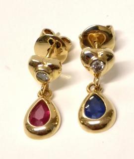 Bespoke Diamond, Ruby & Sapphire Drop Earrings 18ct Gold