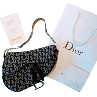 Christian Dior Black Monogram Saddle Bag