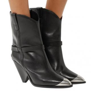 Isabel Marant Lamsy Embellished Leather Cowboy Ankle Boots