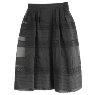 Alice Temperley Black Silk Voile Crochet Panel Full Midi Skirt