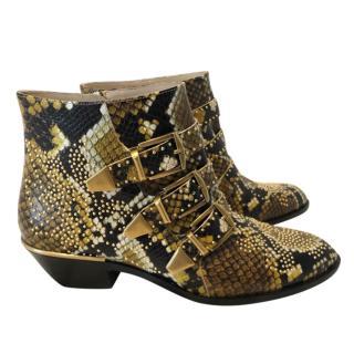 Chloe Susanna Python Ankle Boots