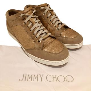 Jimmy Choo gold glitter trainers