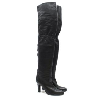 Jimmy Choo over-the-knee black leather boots