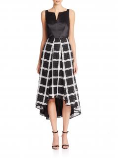 Milly of New York Adalyn Hi-Lo Check Combo Dress