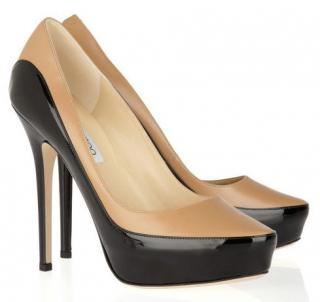 Jimmy Choo sepia two-tone leather pumps