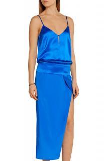 Michelle Mason  Obi Electric Blue Silk And Crepe De Chine Gown