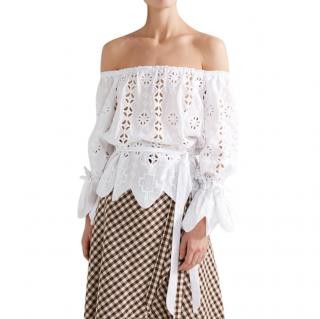 Miguelina  Aurelia White Cotton Broderie Anglaise Off Shoulder Top