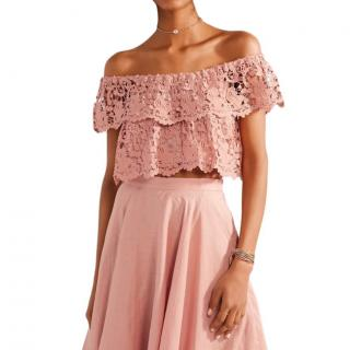 Miguelina Angelica Cinnamon Pink Lace Off Shoulder Cropped Top