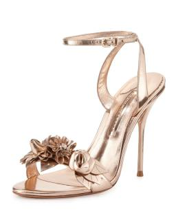Sophia Webster Rose Gold Lilico Floral Leather 105mm Sandals