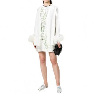 Prada white feather-trimmed wool cardigan