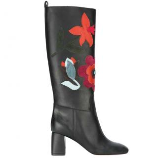 Red Valentino floral motif leather boots