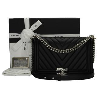 Chanel Black Calfskin New Medium Chevron Boy Bag