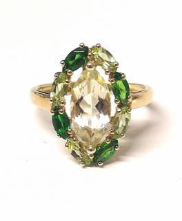 Bespoke Peridot & Diopside Cluster Ring Yellow Gold
