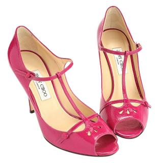 Jimmy Choo Magenta Crushed Patent Rome T-Bar Sandals
