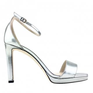 Jimmy Choo Misty 120 Liquid Mirror Leather Platform Sandals
