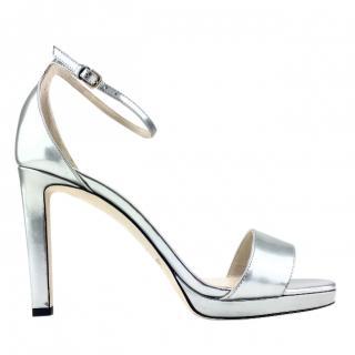 Jimmy Choo Misty 120 Liquid Mirror Leather Platform Sandals