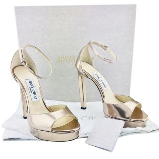 Jimmy Choo Pattie 130 Metallic Leather Platform Sandals