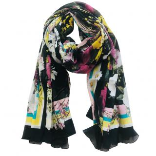 Dolce & Gabbana silk black multi floral scarf