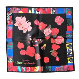 Leonard Patris black flower print silk pocket square