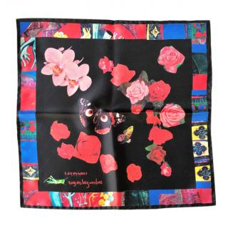 Leonard Patris black flower print silk pocket square