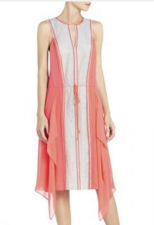 BCBG MAXAZRIA Arion Silk Dress ~ Neon Orange & Silver Grey Silk & Lace Dress
