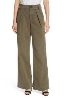Frame Denim high-rise pleated twill trousers - New Season