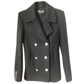 Balmain Wool Double Breasted Coat