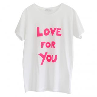 Bella Freud Neon Pink & White Love For You Logo T-Shirt New