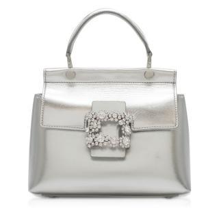 Roger Vivier Viv' Flower Strass Buckle silver leather bag