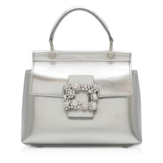 Roger Vivier Viv' Flower Strass Buckle silver leather bag