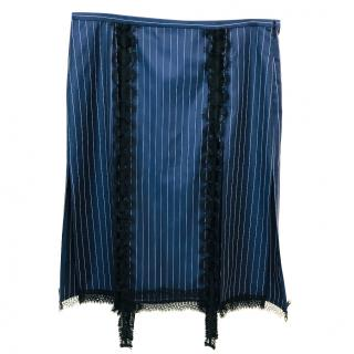 Versace Navy Striped Lace-Trim Skirt