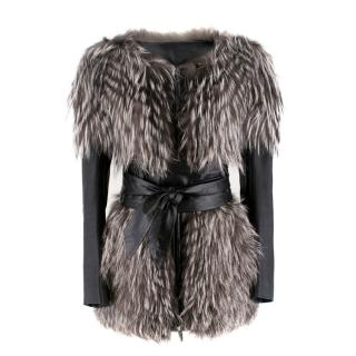 Adamo leather & fox fur versatile jacket