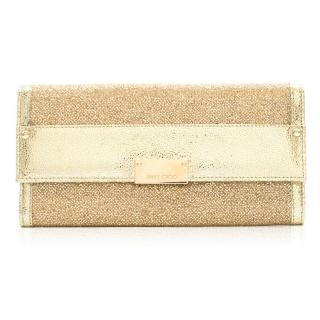 Jimmy Choo gold glitter clutch