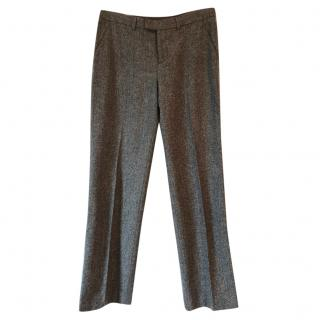 AGNES B wool charcoal marl tweed trousers w black leather side stripe