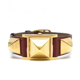 Hermes Medor vintage studded leather bracelet watch