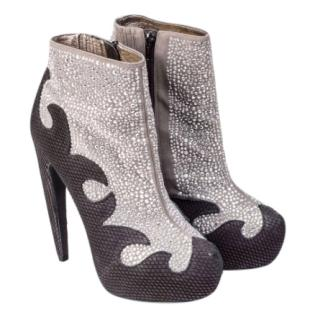 Jeffrey Campbell Black and silver ankle boots