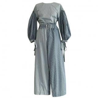 Rejina Pyo Blue & White Striped Bishop Sleeve Top & Wide-Leg Trousers