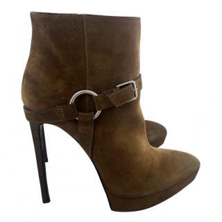 Yves Saint Laurent Tan Platform Boots