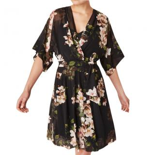 Lauren Ralph Lauren Black Floral Sleeved A-Line Floaty Dress