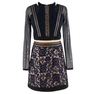 Three Floor lace-panelled dress
