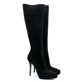 Yves Saint Laurent Lauren suede knee-high boots