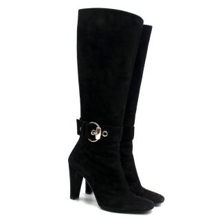 Gucci Buckle Detail Suede Knee-high Boots