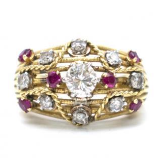 Bespoke diamond & ruby encrusted 18kt yellow-gold ring
